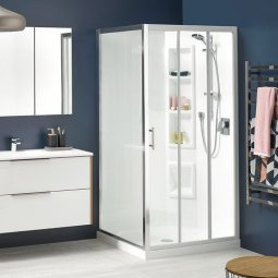 Cezanne Square Showers Moulded Wall - White