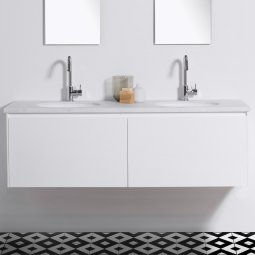 Moode 1500 Wall-Hung vanity, Double Bowl, 2 Drawers (side by side)