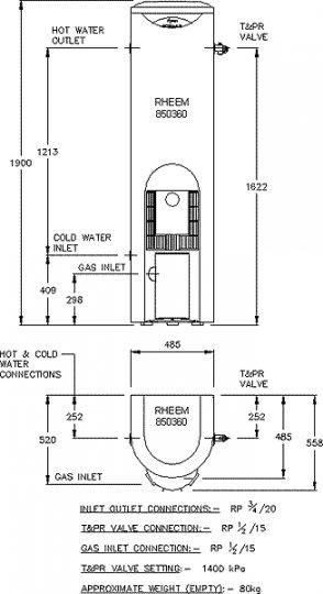 rheem stellar 160l gas water heater